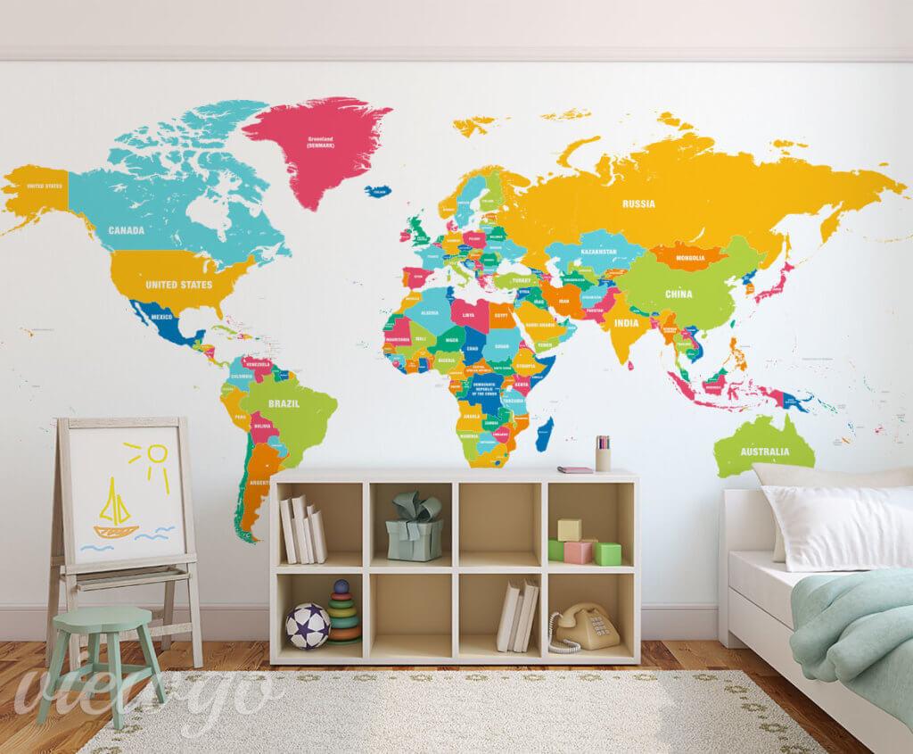 Kolorowa mapa świata - Fototapety Viewgo