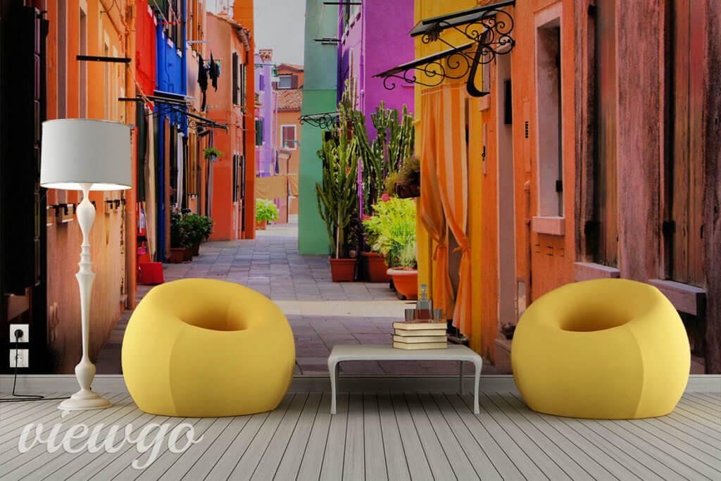 Kolorowa ulica we Włoszech - Fototapeta Viewgo