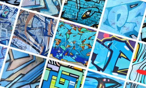 Fototapeta A set of many small fragments of graffiti drawings. Street art abstract background collage in blue colors