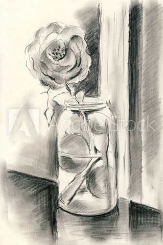 Fototapeta A single rose in a vase - Charcoal drawing