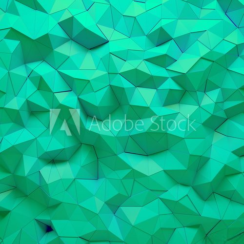 Fototapeta Abstract green 3D geometric polygon facet background mosaic made by edgy triangles