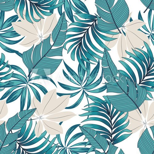 Fototapeta Abstract seamless tropical pattern with bright plants and leaves on a delicate background.  Seamless exotic pattern with tropical plants. Beautiful seamless vector floral pattern.