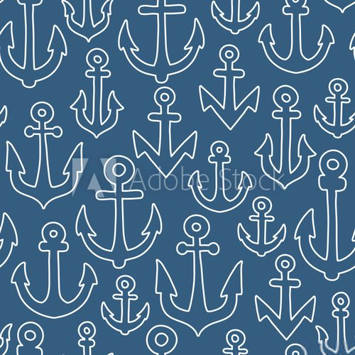 Fototapeta Anchor seamless pattern
