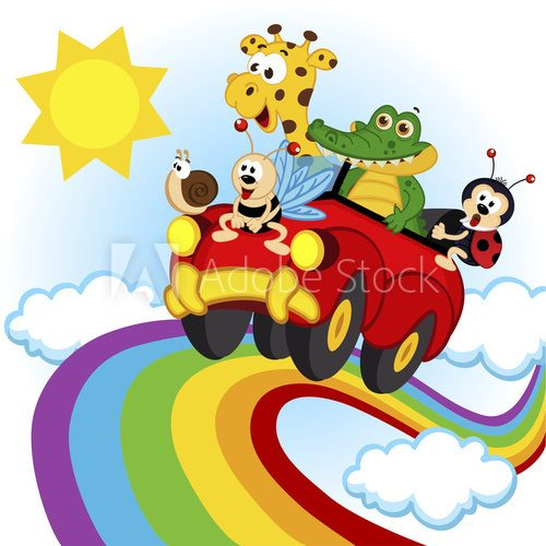 Fototapeta animals traveling by car over the rainbow - vector, eps