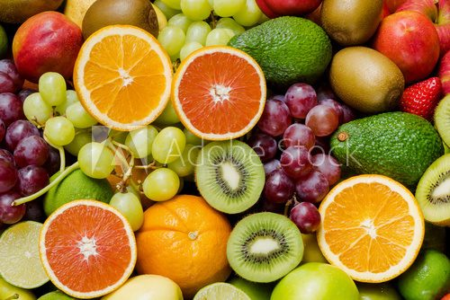 Fototapeta Arrangement ripe fruits and vegetables for eating healthy