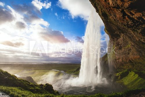 Fototapeta beautiful amazing landscape from Iceland, Seljandafoss waterfall