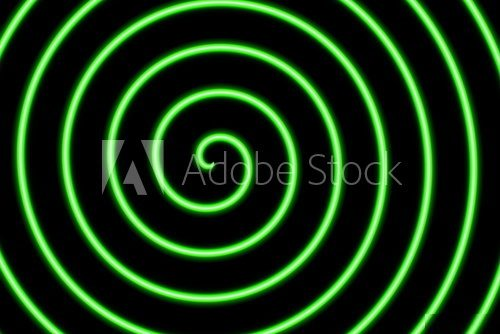 Fototapeta black background with a neon green spiral