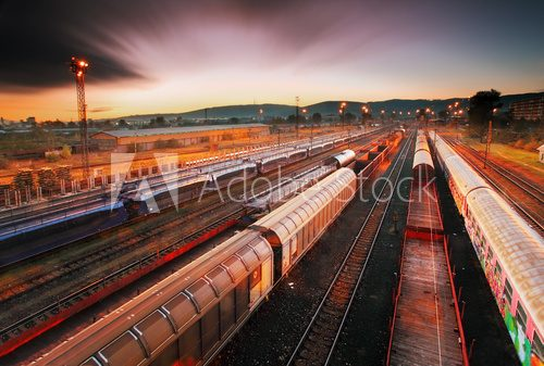 Fototapeta Cargo train platform at sunset with container