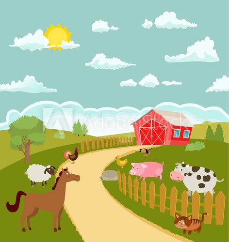 Fototapeta cartoon farm with cute animals. vector illustration