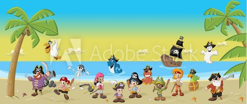 Fototapeta Cartoon pirates with funny animals on a beautiful tropical beach