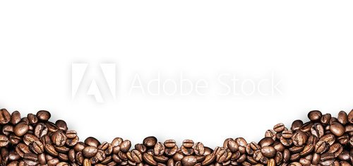 Fototapeta coffee beans white background