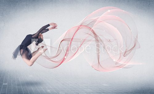 Fototapeta Dancing ballet performance artist with abstract swirl