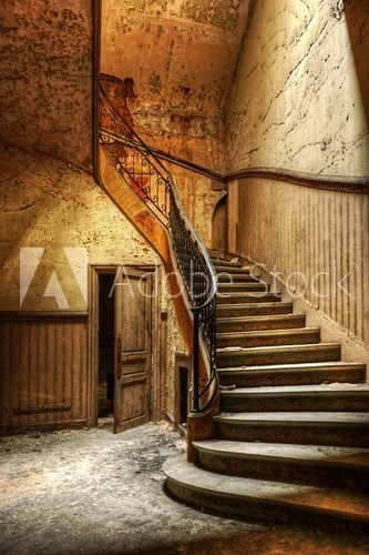 Fototapeta Decaying staircase in an abandoned central office