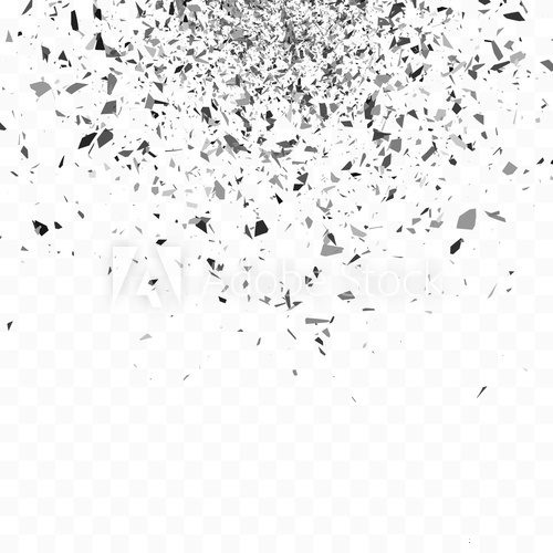 Fototapeta Explosion cloud of black pieces. Confetti. Vector