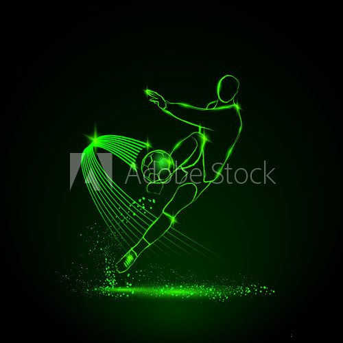 Fototapeta glowing football player who hit the ball