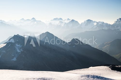 Fototapeta High mountain in morning time. Beautiful natural landscape