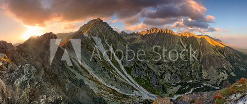 Fototapeta Mountain sunset panorama at autumn in Slovakia - High Tatras