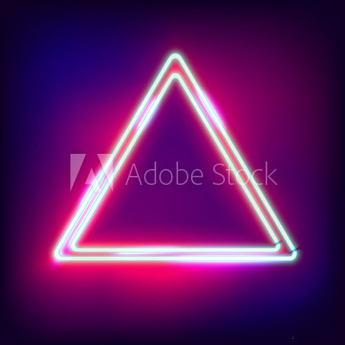 Fototapeta Neon abstract triangle. Glowing frame. Vintage electric symbol. Burning a pointer to a black wall in a club, bar or cafe. Design element for your ad, sign, poster, banner. illustration