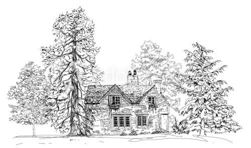 Fototapeta Old english stone cottage in the forest, sketch collection