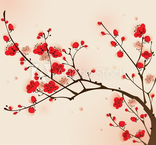 Fototapeta Oriental style painting, plum blossom in spring