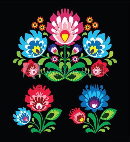 Fototapeta Polish floral folk embroidery pattern on black - wzor lowicki