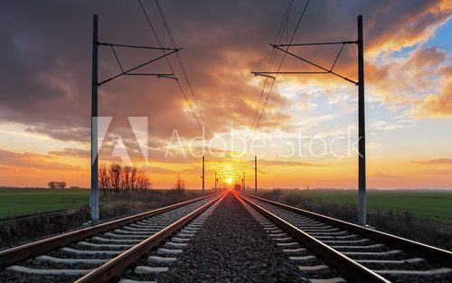 Fototapeta Railrway at sunset