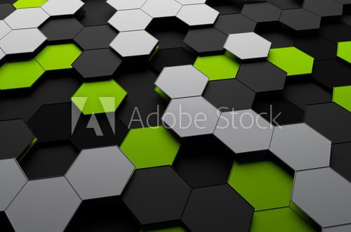 Fototapeta Rendering of Futuristic Surface with Hexagons.
