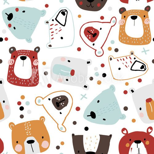 Fototapeta Seamless childish pattern with cute bear faces. Creative kids hand drawn texture for fabric, wrapping, textile, wallpaper, apparel. Vector illustration
