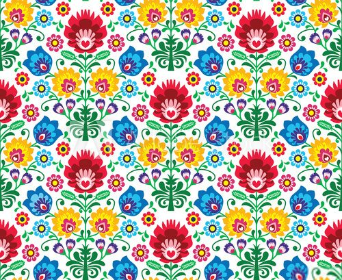 Fototapeta Seamless floral polish pattern - ethnic background