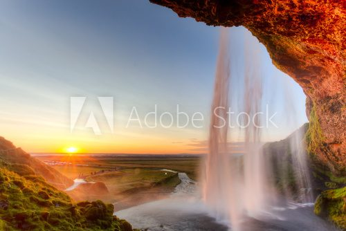 Fototapeta Seljalandsfoss Waterfall at sunset, Iceland