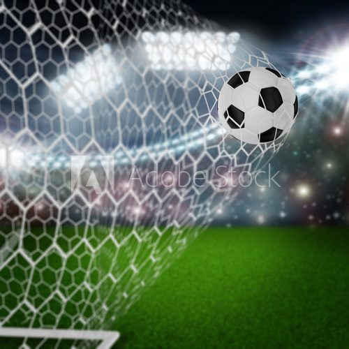 Fototapeta soccer ball in goal net
