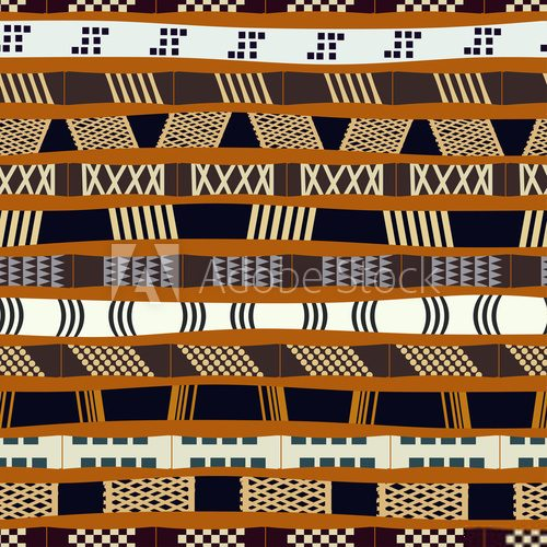 Fototapeta Tribal seamless pattern with colored stripes. Vector illustratio