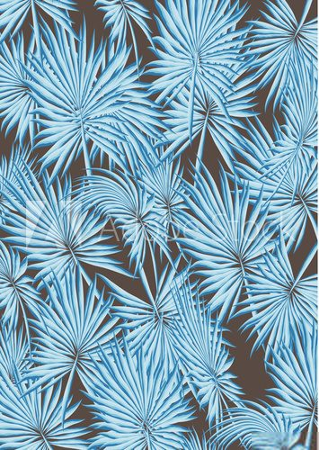 Fototapeta Tropical Palm Leaves and Flowers Background. Exotic Texture. Floral Wallpaper