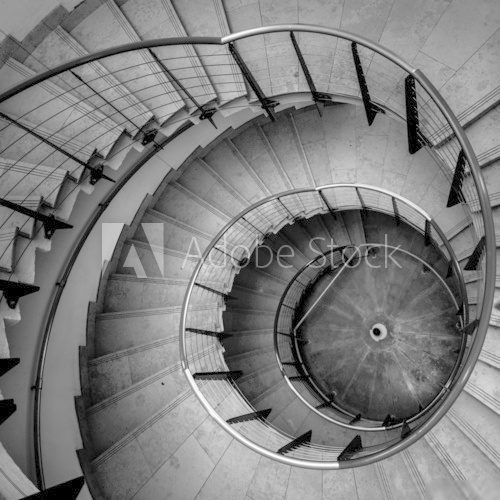 Fototapeta Upside view of a spiral staircase