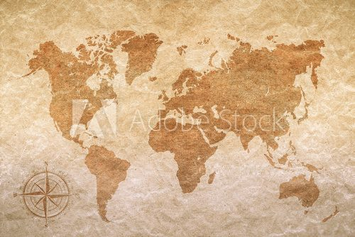 Fototapeta vintage paper  with world map