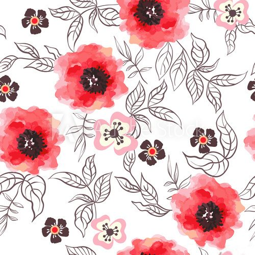 Fototapeta Watercolor flowers seamless pattern.