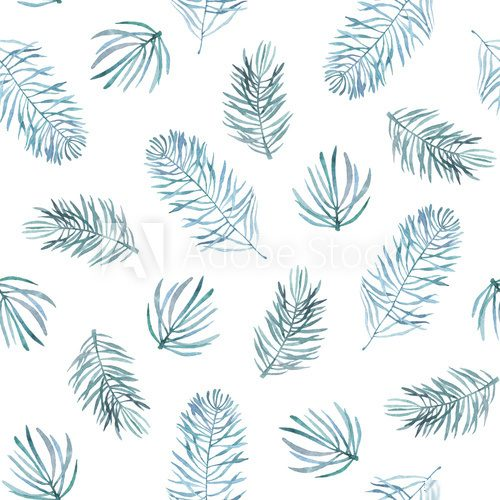 Fototapeta Watercolor seamless pattern with spruce branches.