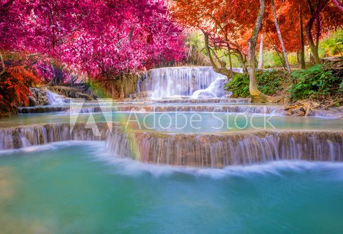 Fototapeta Waterfall in rain forest (Tat Kuang Si Waterfalls at Luang praba