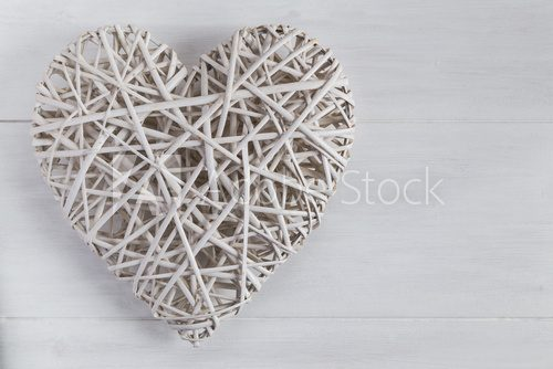 Fototapeta White wicker heart