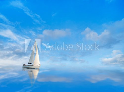 Fototapeta Yacht on blue sky